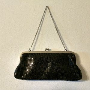 Ann Taylor Loft Black Sequined Clutch
